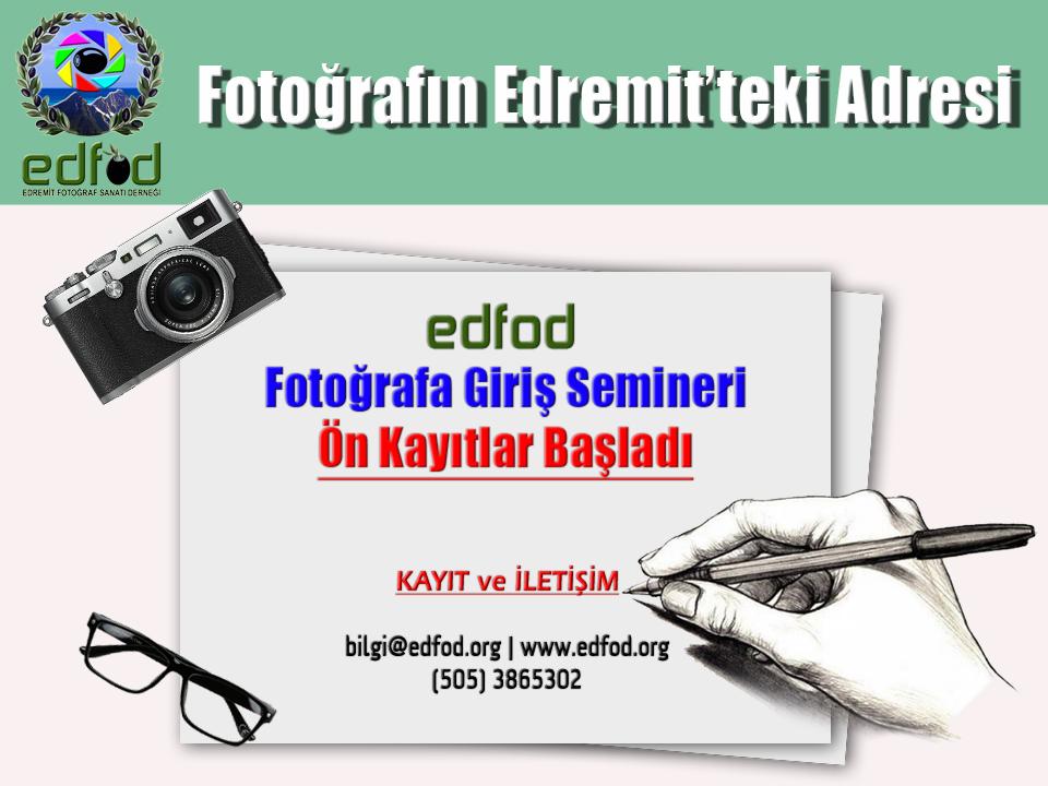 edfod, eğitim, fotoğraf, fotoğrafa giriş, seminer, temel eğitim